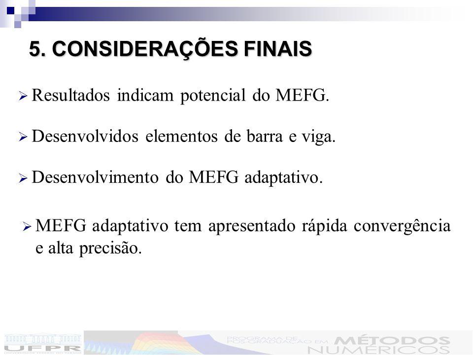 5. CONSIDERAÇÕES FINAIS Resultados indicam potencial do MEFG.