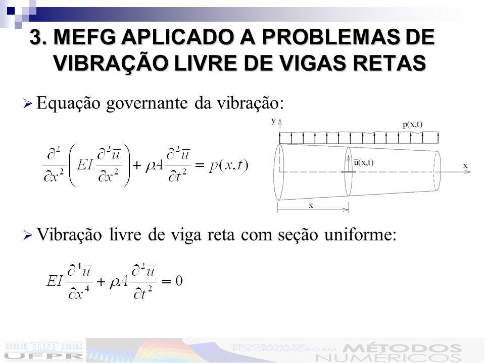 3. MEFG APLICADO A PROBLEMAS DE VIBRAÇÃO LIVRE DE VIGAS RETAS