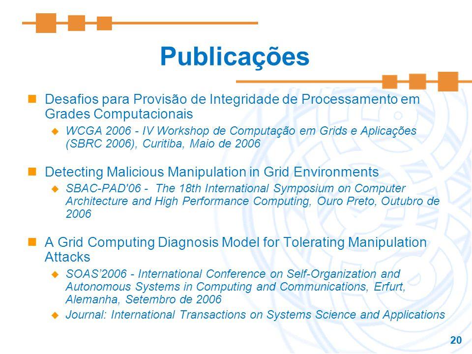 Publicações Desafios para Provisão de Integridade de Processamento em Grades Computacionais.