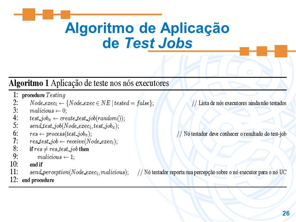 Algoritmo de Aplicação de Test Jobs