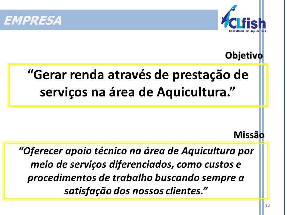 Gerar renda através de prestação de serviços na área de Aquicultura.