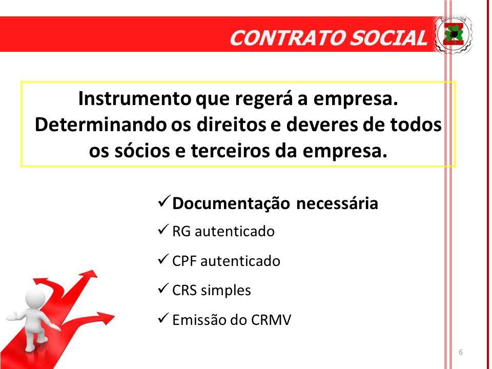 CONTRATO SOCIAL Instrumento que regerá a empresa. Determinando os direitos e deveres de todos os sócios e terceiros da empresa.