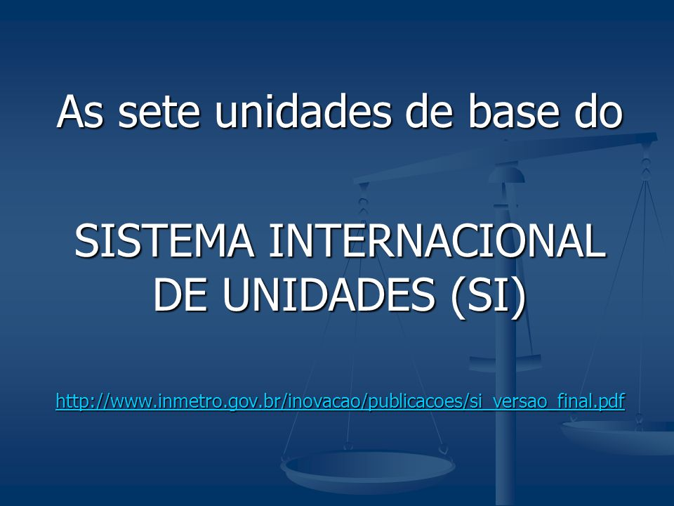 As sete unidades de base do SISTEMA INTERNACIONAL DE UNIDADES (SI)