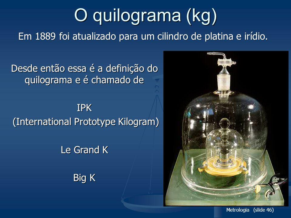 O quilograma (kg) Em 1889 foi atualizado para um cilindro de platina e irídio. Desde então essa é a definição do quilograma e é chamado de.