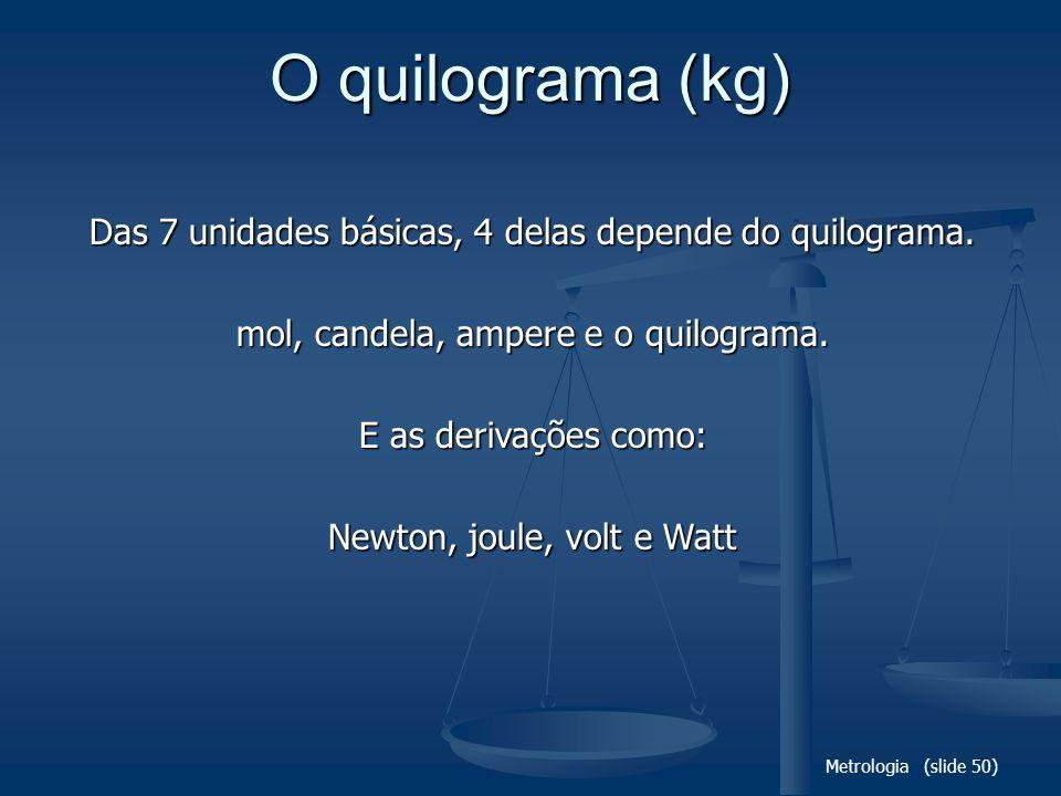 O quilograma (kg) Das 7 unidades básicas, 4 delas depende do quilograma. mol, candela, ampere e o quilograma.