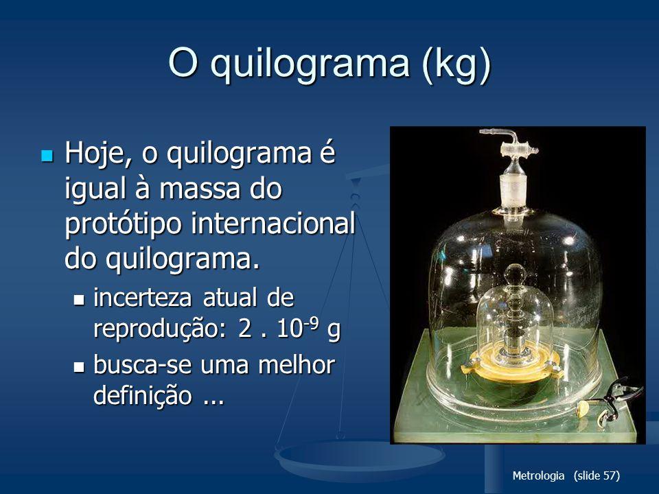 O quilograma (kg) Hoje, o quilograma é igual à massa do protótipo internacional do quilograma. incerteza atual de reprodução: 2 . 10-9 g.