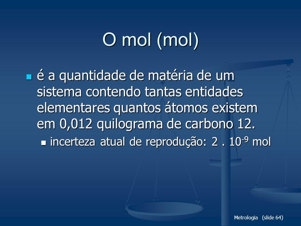 O mol (mol) é a quantidade de matéria de um sistema contendo tantas entidades elementares quantos átomos existem em 0,012 quilograma de carbono 12.