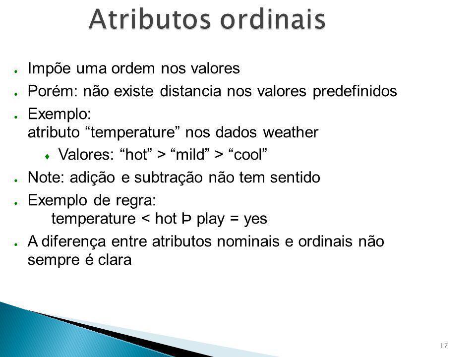 Atributos ordinais Impõe uma ordem nos valores