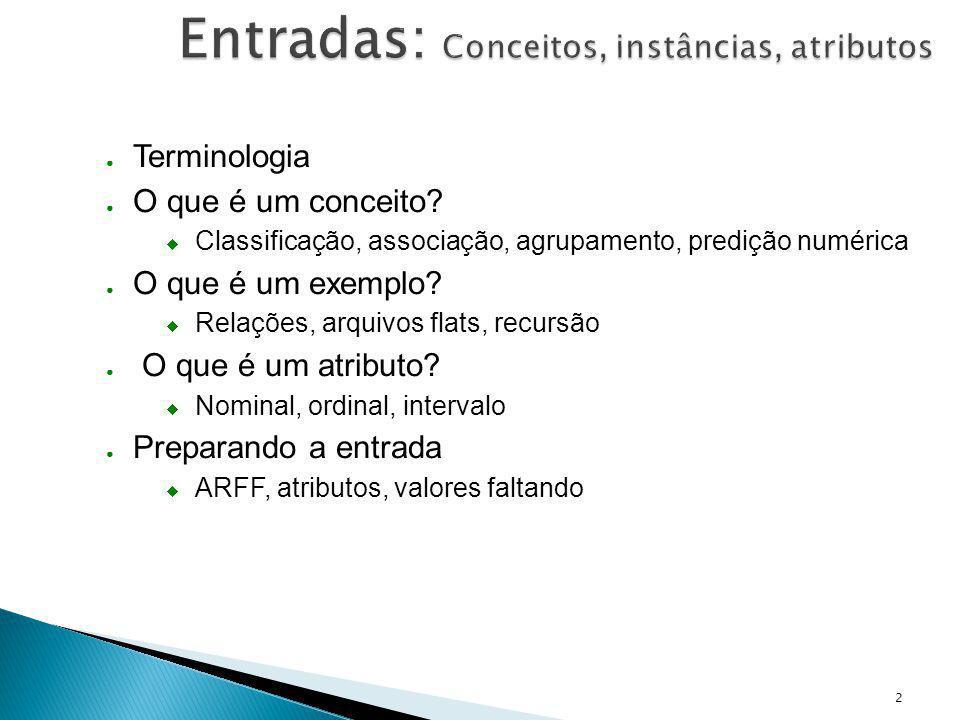 Entradas: Conceitos, instâncias, atributos