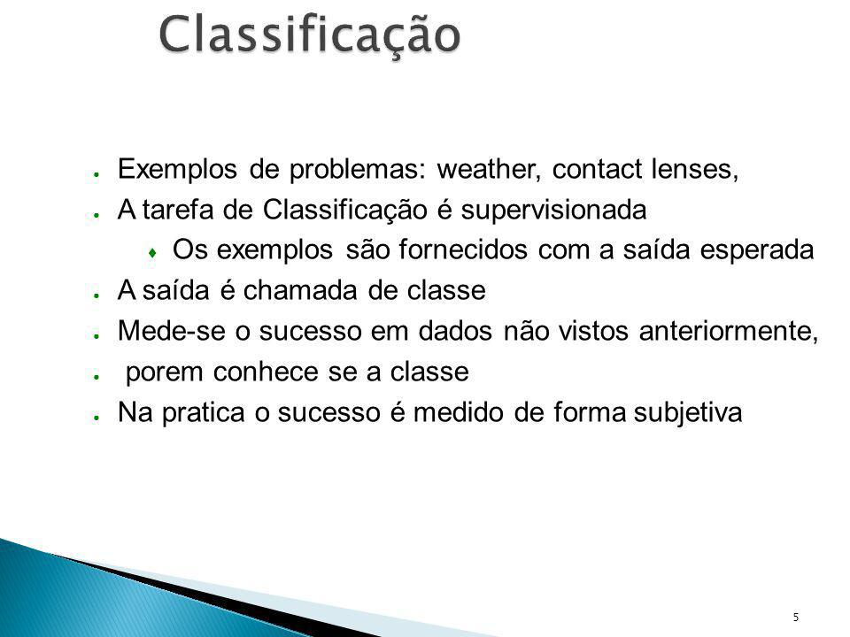 Classificação Exemplos de problemas: weather, contact lenses,