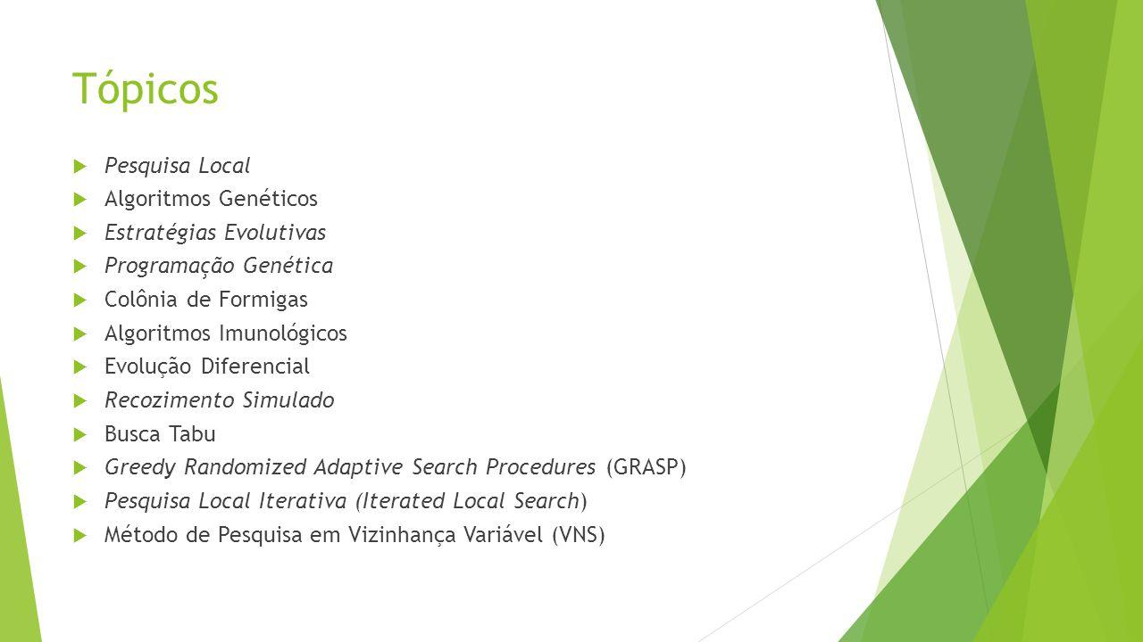 Tópicos Pesquisa Local Algoritmos Genéticos Estratégias Evolutivas