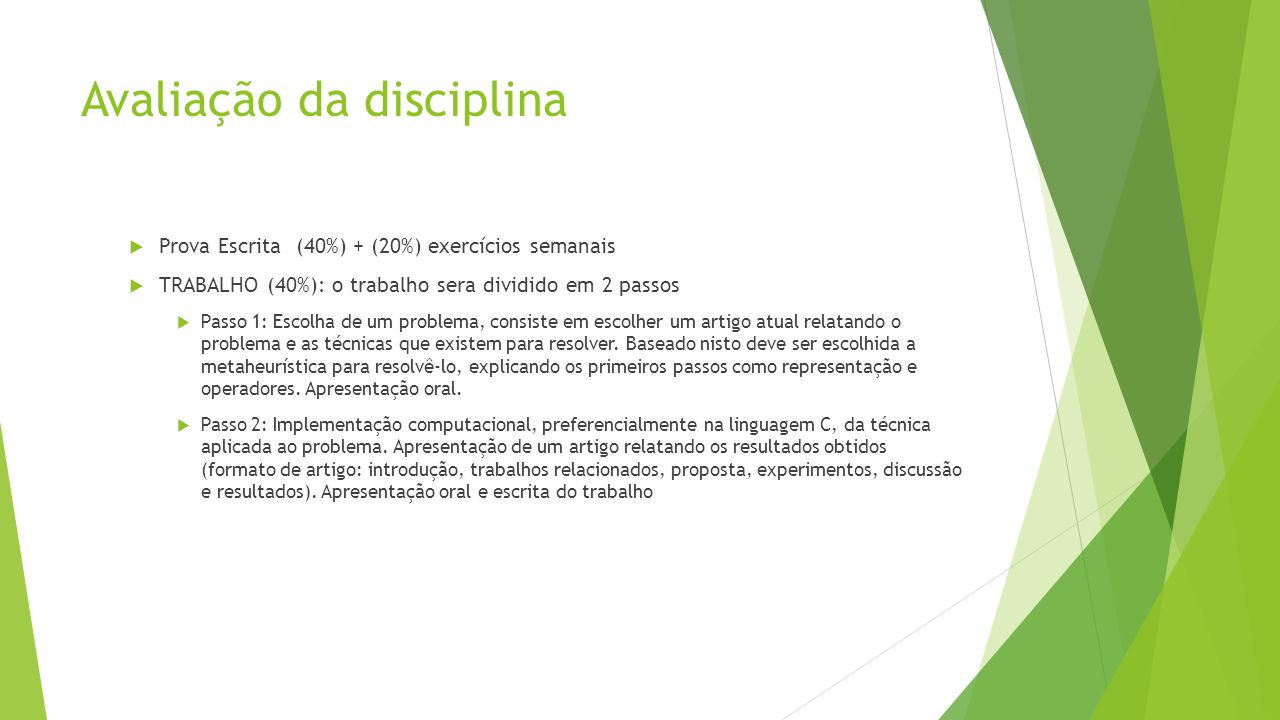 Avaliação da disciplina