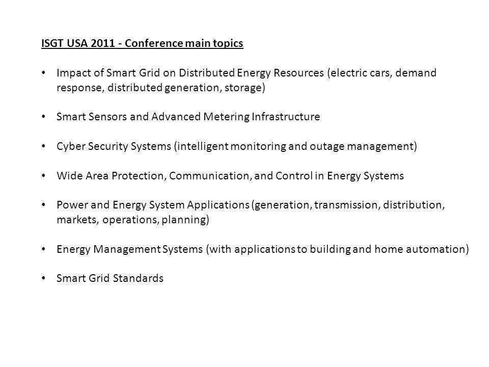 ISGT USA 2011 - Conference main topics