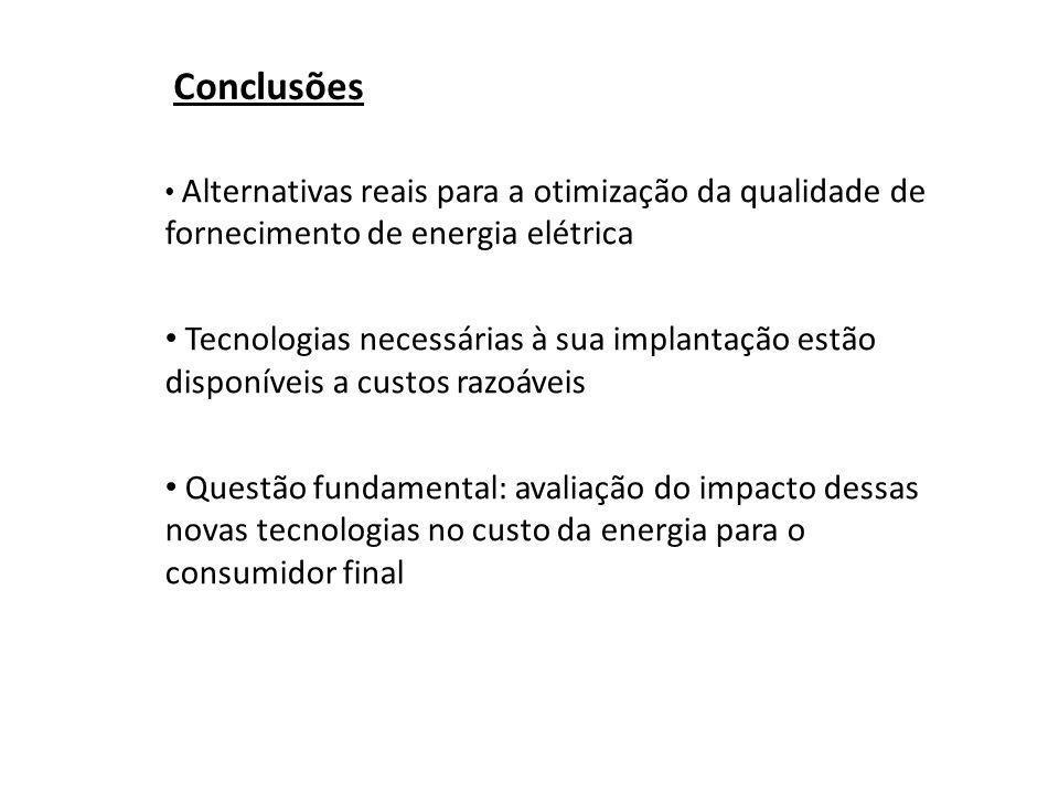 Conclusões Alternativas reais para a otimização da qualidade de fornecimento de energia elétrica.