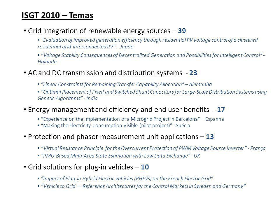ISGT 2010 – Temas Grid integration of renewable energy sources – 39