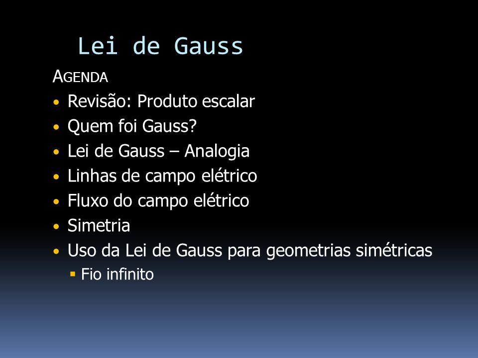 Lei de Gauss Agenda Revisão: Produto escalar Quem foi Gauss