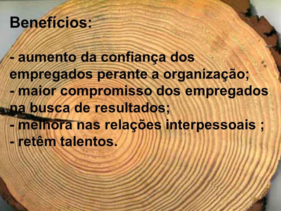Benefícios: - aumento da confiança dos empregados perante a organização; - maior compromisso dos empregados na busca de resultados;