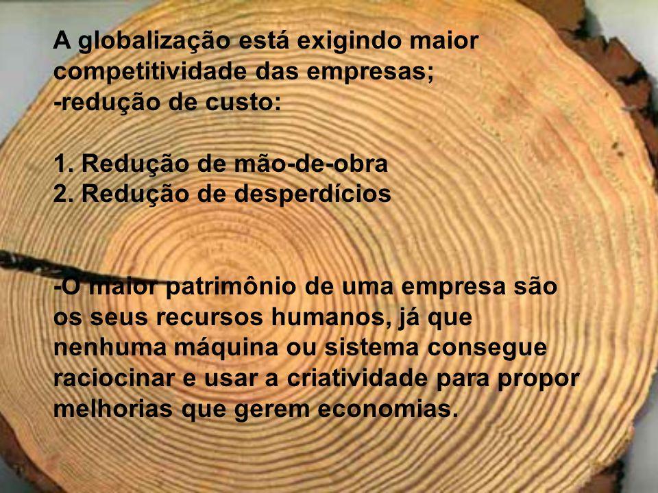 A globalização está exigindo maior competitividade das empresas;