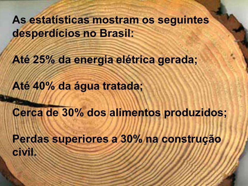 As estatísticas mostram os seguintes desperdícios no Brasil: