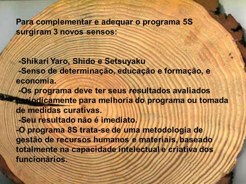 Para complementar e adequar o programa 5S surgiram 3 novos sensos: