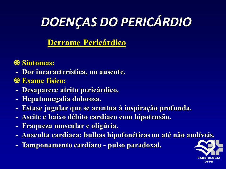 DOENÇAS DO PERICÁRDIO Derrame Pericárdico  Sintomas: