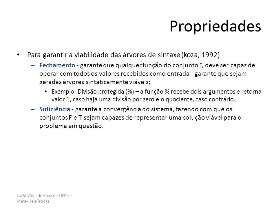 Propriedades Para garantir a viabilidade das árvores de sintaxe (koza, 1992)