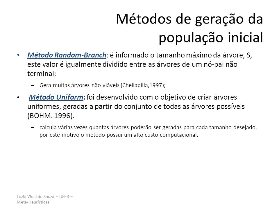 Métodos de geração da população inicial