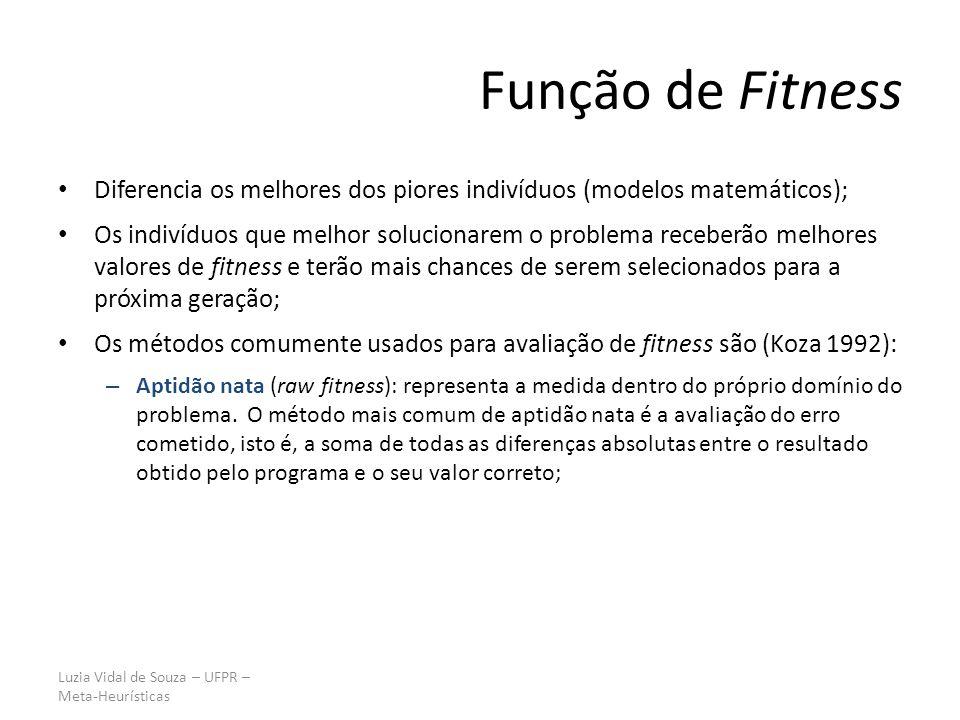 Função de Fitness Diferencia os melhores dos piores indivíduos (modelos matemáticos);
