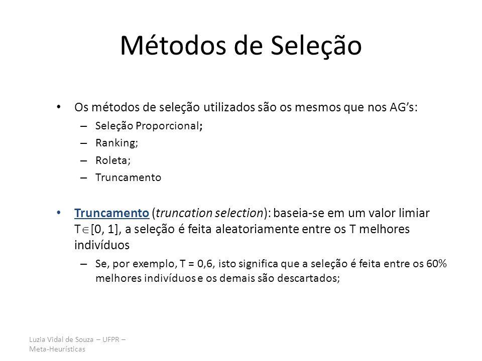 Métodos de Seleção Os métodos de seleção utilizados são os mesmos que nos AG's: Seleção Proporcional;