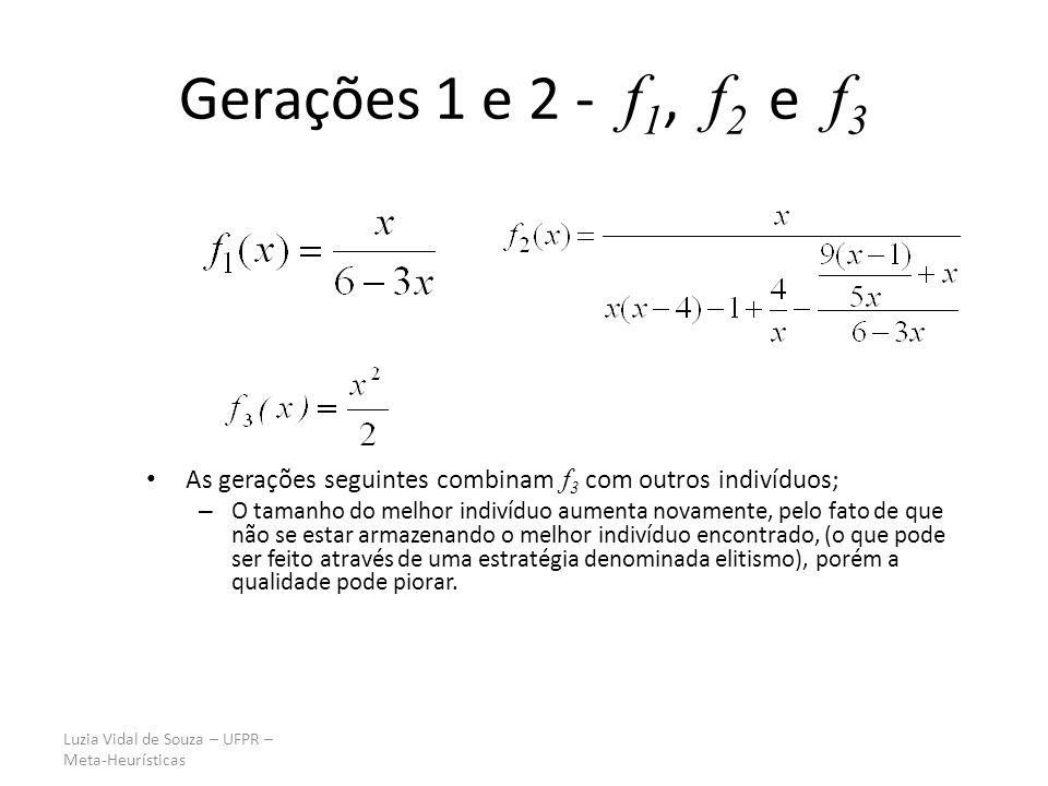 Gerações 1 e 2 - f1, f2 e f3 As gerações seguintes combinam f3 com outros indivíduos;