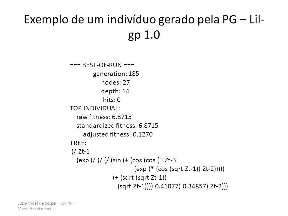 Exemplo de um indivíduo gerado pela PG – Lil-gp 1.0