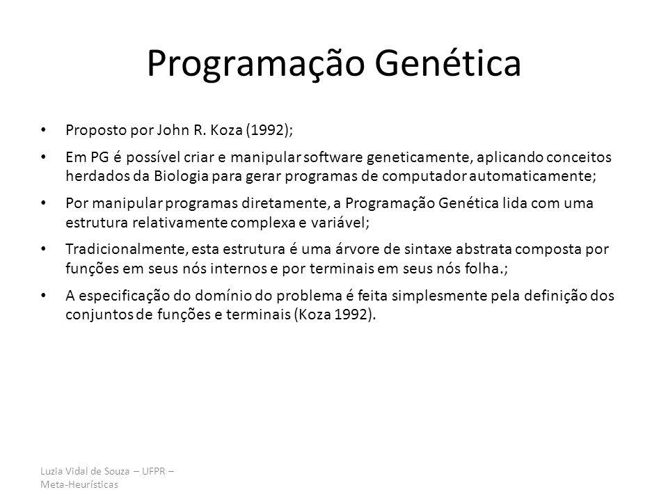 Programação Genética Proposto por John R. Koza (1992);