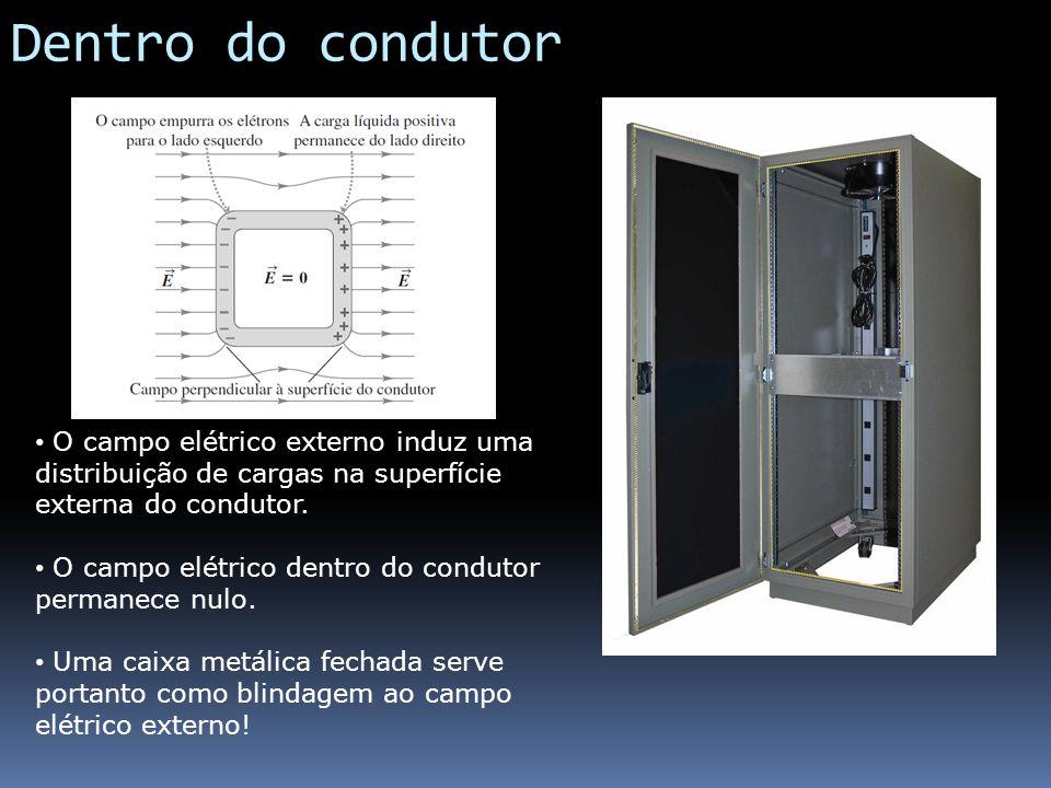 Dentro do condutor O campo elétrico externo induz uma distribuição de cargas na superfície externa do condutor.