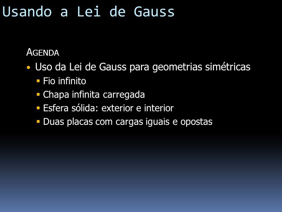 Usando a Lei de Gauss Agenda