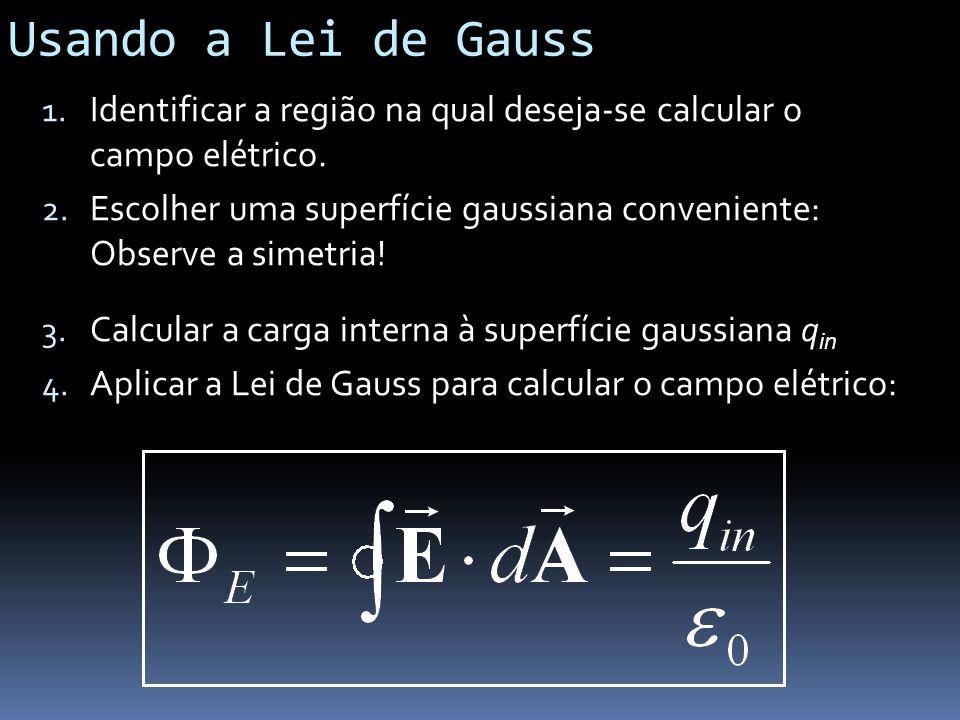 Usando a Lei de Gauss Identificar a região na qual deseja-se calcular o campo elétrico.