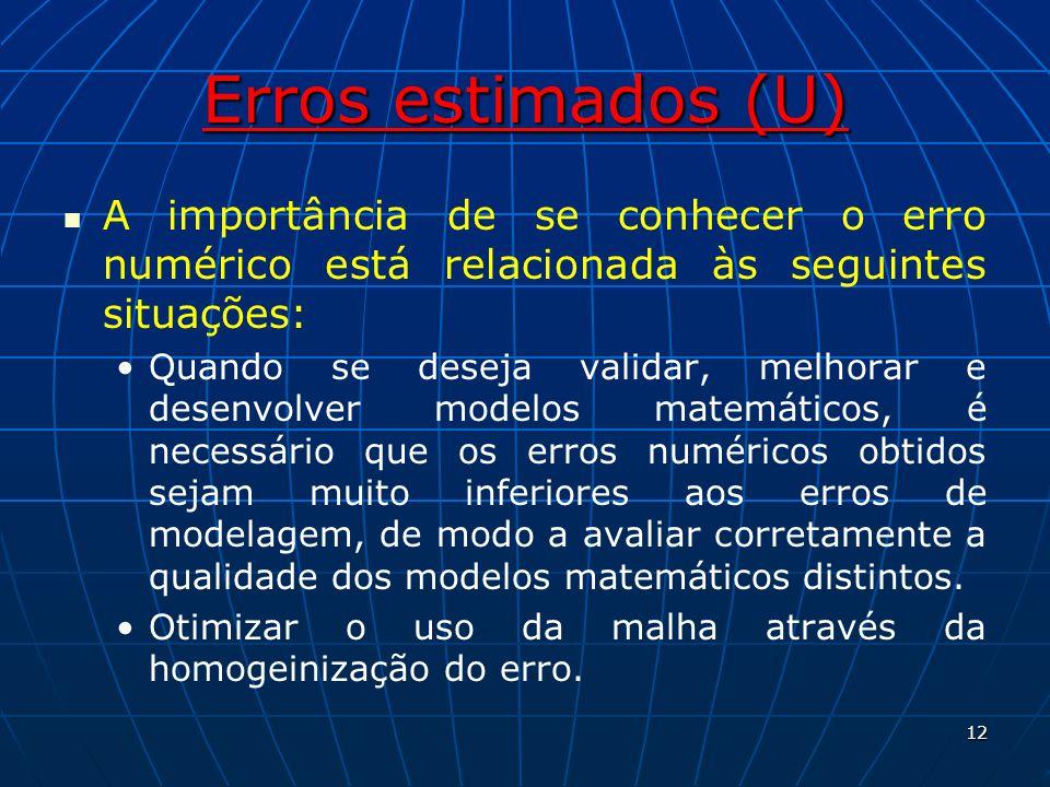 Erros estimados (U) A importância de se conhecer o erro numérico está relacionada às seguintes situações: