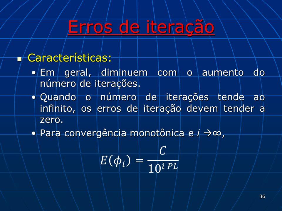 Erros de iteração 𝐸 𝜙 𝑖 = 𝐶 10 𝑖 𝑃𝐿 Características: