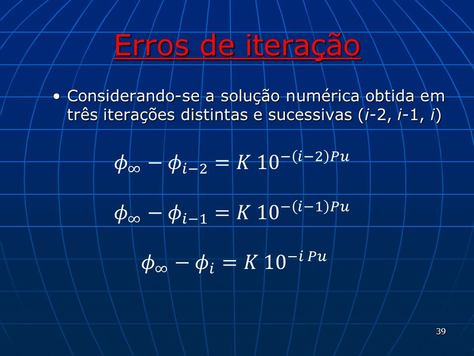 Erros de iteração 𝜙 ∞ − 𝜙 𝑖−2 =𝐾 10 − 𝑖−2 𝑃𝑢