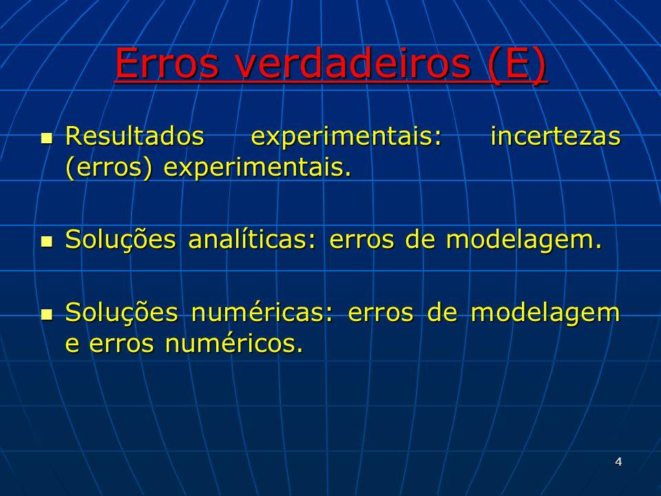 Erros verdadeiros (E) Resultados experimentais: incertezas (erros) experimentais. Soluções analíticas: erros de modelagem.