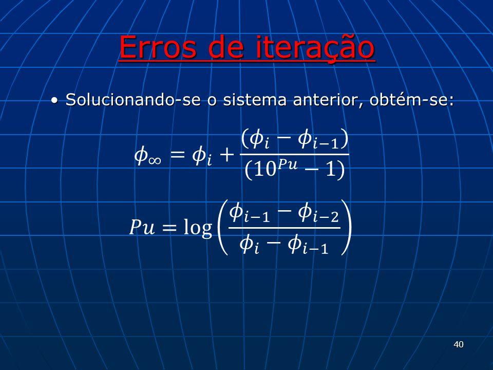 Erros de iteração 𝜙 ∞ = 𝜙 𝑖 + ( 𝜙 𝑖 − 𝜙 𝑖−1 ) ( 10 𝑃𝑢 −1)