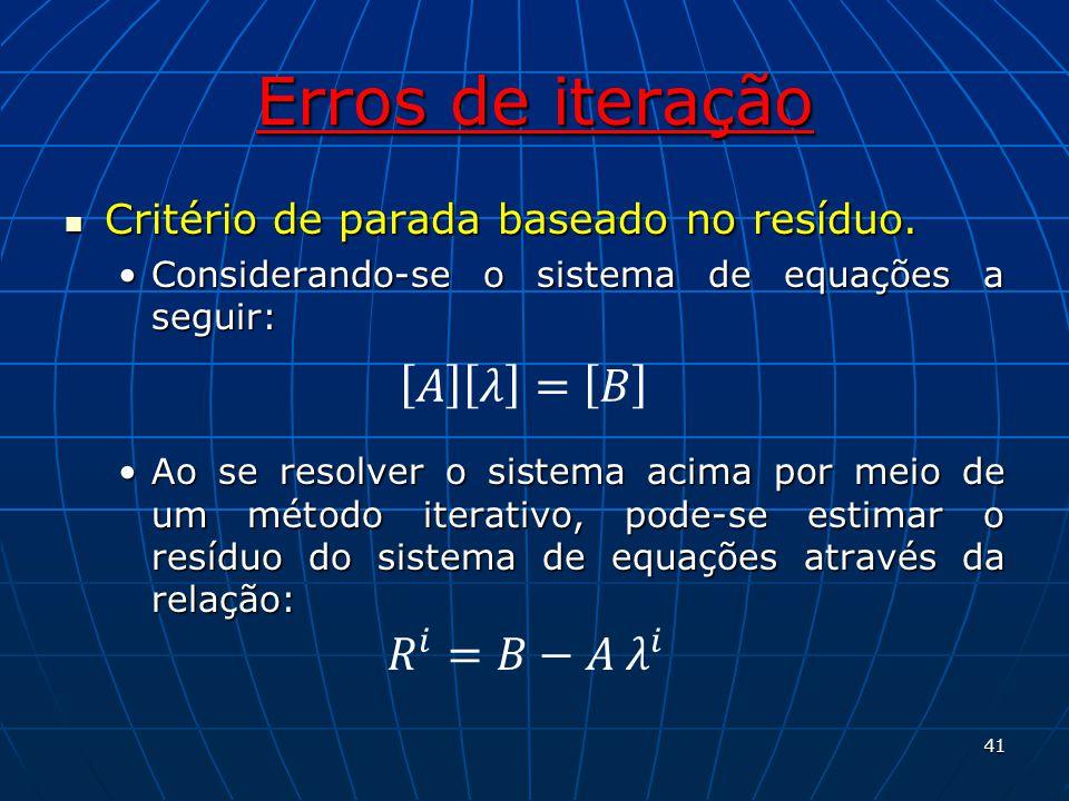 Erros de iteração 𝐴 𝜆 = 𝐵 𝑅 𝑖 =𝐵−𝐴 𝜆 𝑖