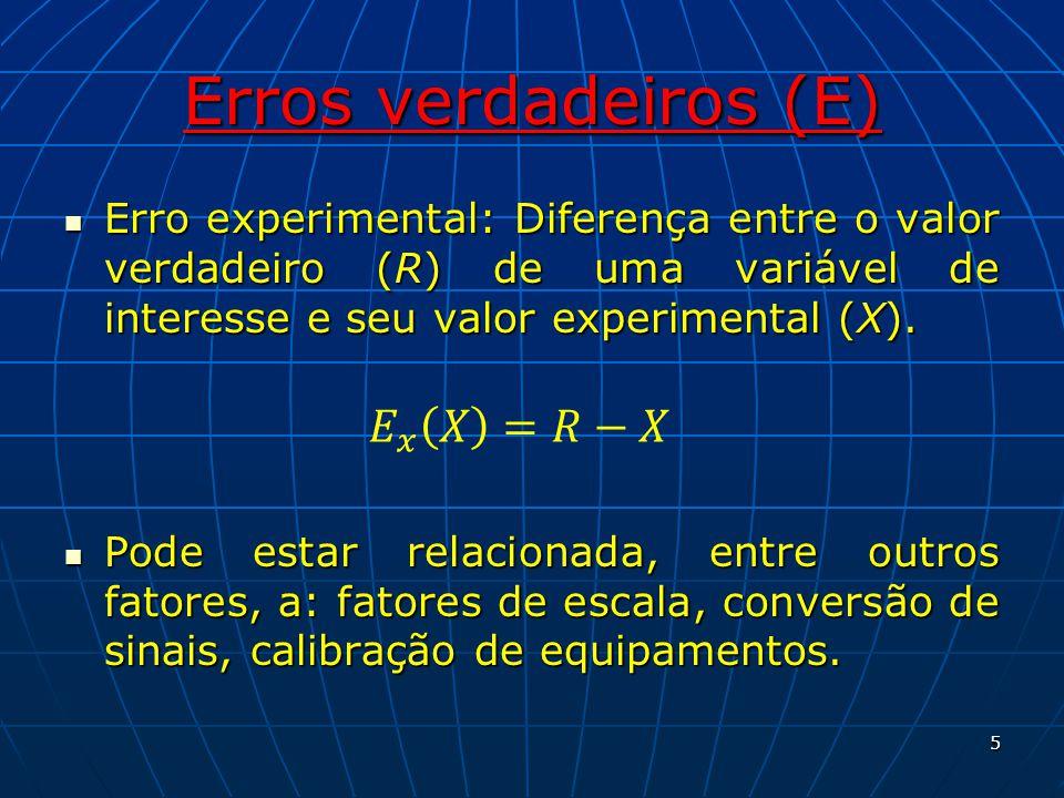 Erros verdadeiros (E) 𝐸 𝑥 𝑋 =𝑅−𝑋