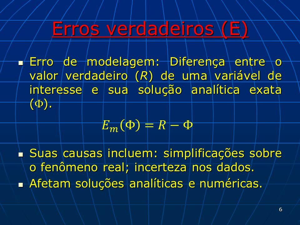 Erros verdadeiros (E) 𝐸 𝑚 Φ =𝑅−Φ