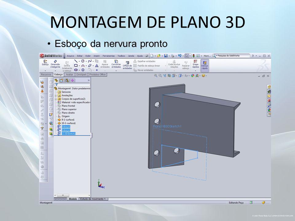 MONTAGEM DE PLANO 3D Esboço da nervura pronto