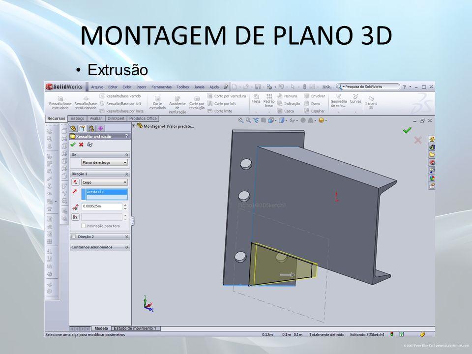 MONTAGEM DE PLANO 3D Extrusão