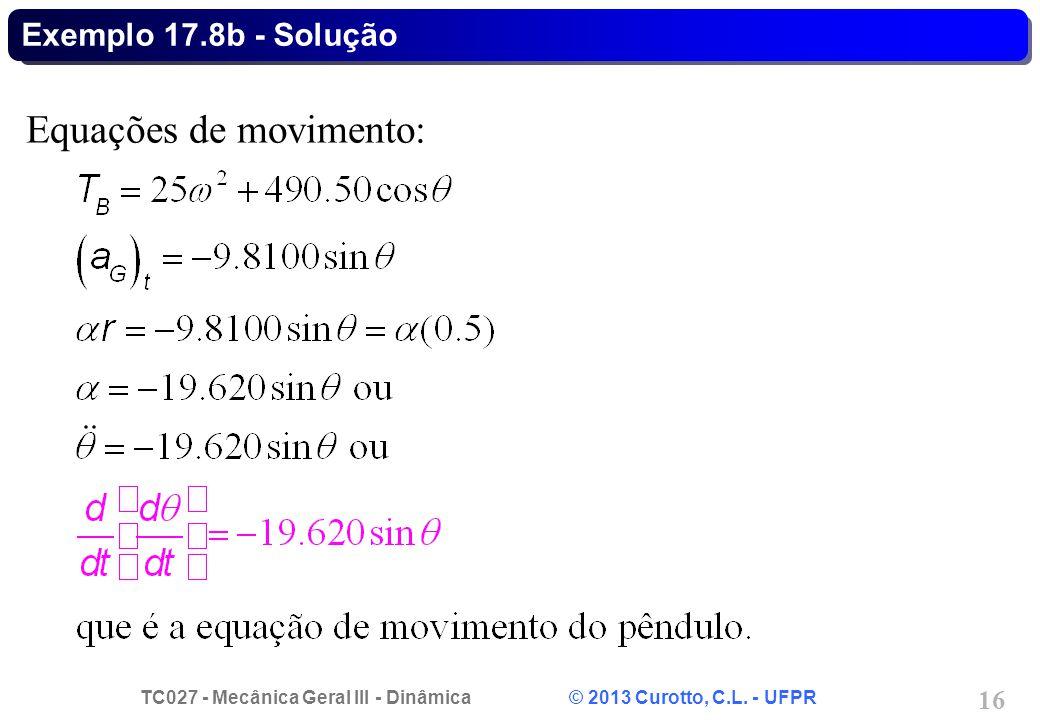 Equações de movimento: