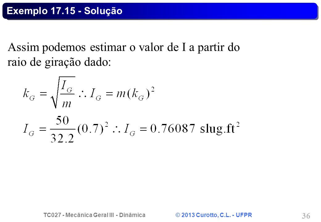 Assim podemos estimar o valor de I a partir do raio de giração dado: