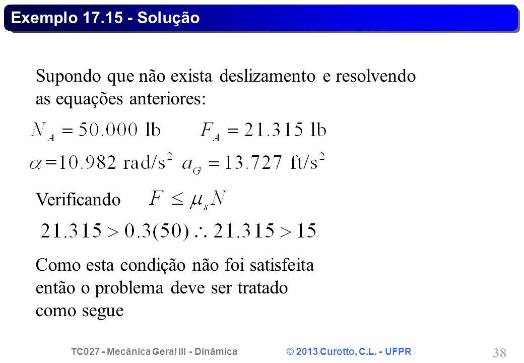 Exemplo 17.15 - Solução Supondo que não exista deslizamento e resolvendo as equações anteriores: Verificando.