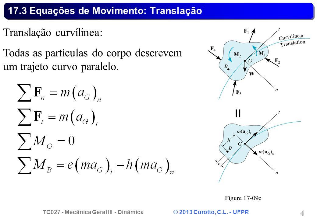 17.3 Equações de Movimento: Translação