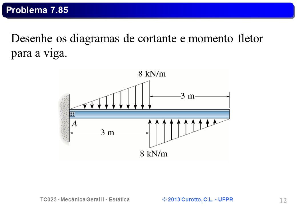 Desenhe os diagramas de cortante e momento fletor para a viga.